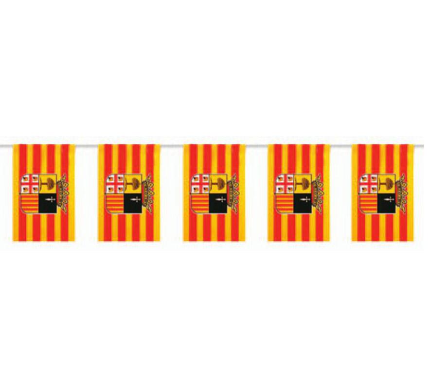 Bolsa de 50 metros Bandera de Aragón de plástico de 20 x 30 cm. Perfecta para decorar todo tipo de Fiestas.