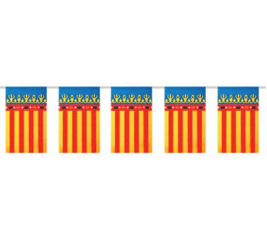 Bolsa de 50 metros Bandera de la Comunidad Valenciana de plástico de 20 x 30 cm. Perfecta para decorar todo tipo de Fiestas.