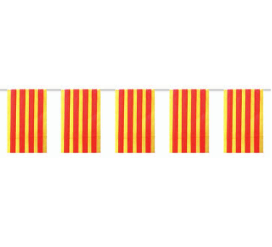 Bolsa de 50 metros Bandera Senyera Catalana o de la Comunidad de Catalunya de plástico de 20 x 30 cm. Perfecta para decorar todo tipo de Fiestas.