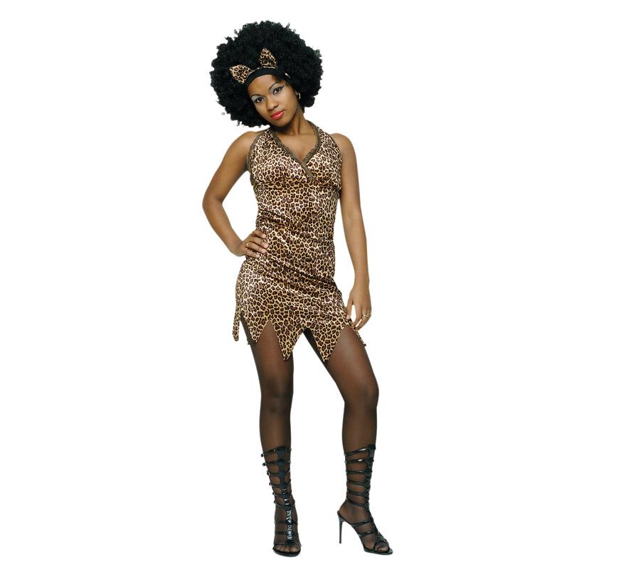 Disfraz de Troglodita Sexy África para chicas. Talla standar. Incluye vestido y diadema con orejas. Lo hemos puesto también en la categoría de Trogloditas y Cavernícolas ya que perfectamente podría usarse como tal.
