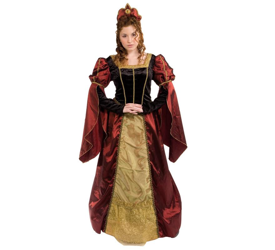 Disfraz de Dama del Renacimiento adulta. Talla Universal de mujer. Incluye vestido y tiara. Disfraz de Dama Medieval.