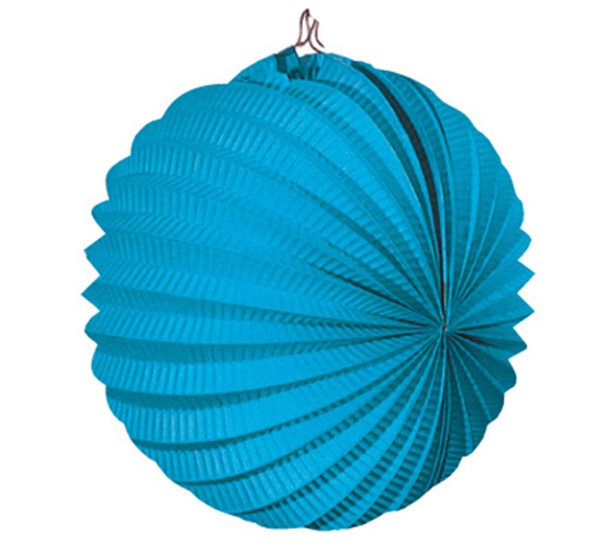 Bolsa de 12 uds. de Faroles azules celeste de 22 cm de diámetro. Precio por bolsa de 12 uds. Ideal para decorar cualquier Fiesta Andaluza, Sevillana o Española. Perfectos para la Feria de Abril.