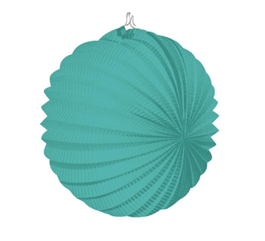Bolsa de 12 uds. de Faroles verdes agua de 22 cm de diámetro. Precio por bolsa de 12 uds. Ideal para decorar cualquier Fiesta Andaluza, Sevillana o Española. Perfectos para la Feria de Abril.