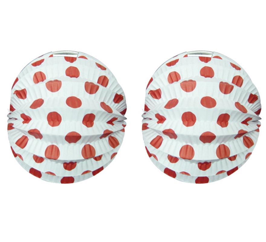 Bolsa de 12 uds. de Faroles blancos con lunares rojos de 22 cm de diámetro. Precio por bolsa de 12 uds. Ideal para decorar cualquier Fiesta Andaluza, Sevillana o Española. Perfectos para la Feria de Abril.