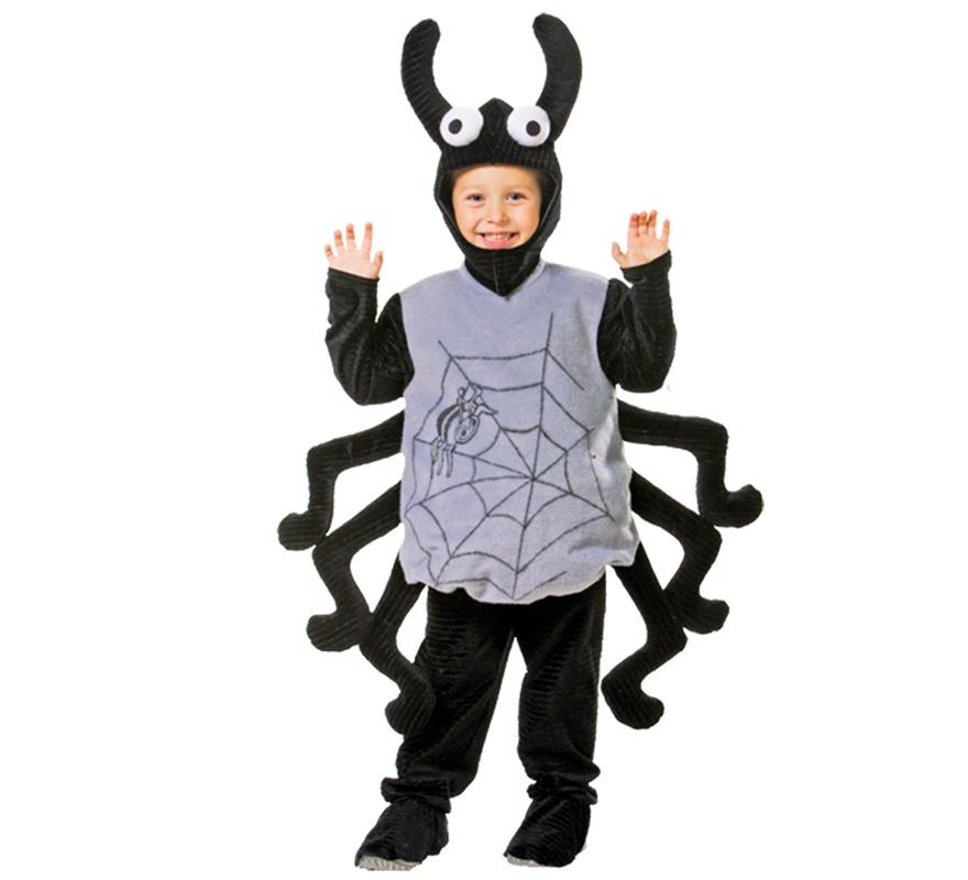 Disfraz de Arácnido infantil. Varias tallas. Incluye disfraz completo con capucha. Alta calidad, hecho en España. Ideal para Halloween. Disfraz de Araña para niños.