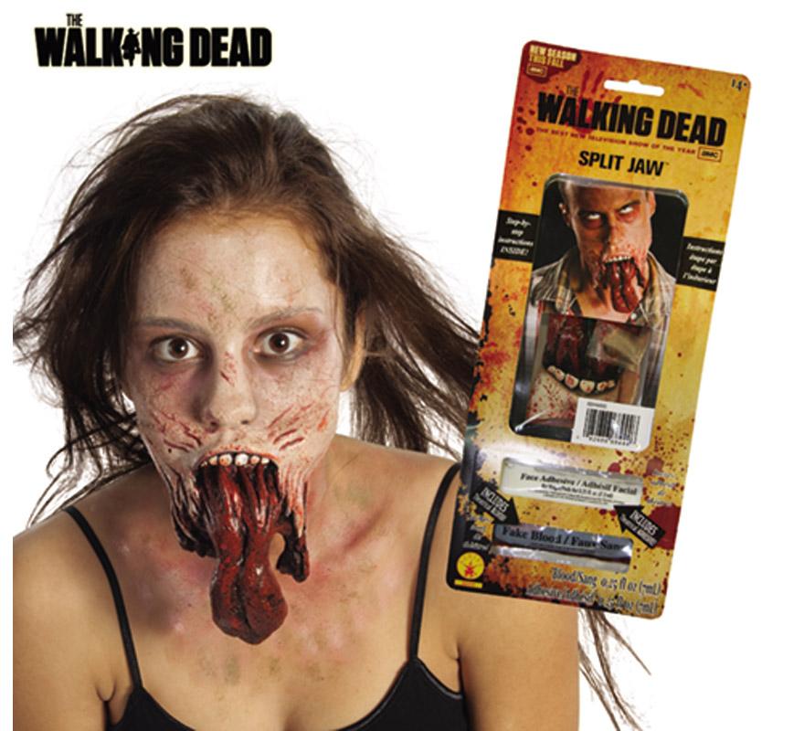Maquillaje FX Lengua Zombie para Halloween. Contiene los artículos necesarios para hacerse un maquillaje como el de la imagen que se muestra.