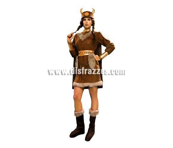 Disfraz de Vikinga para mujer. Talla standar M-L = 38/42. Incluye casco de tela, vestido, capa, cinturón y botas de tela. Éste disfraz de Bárbara no pasa de moda, es todo un clásico.