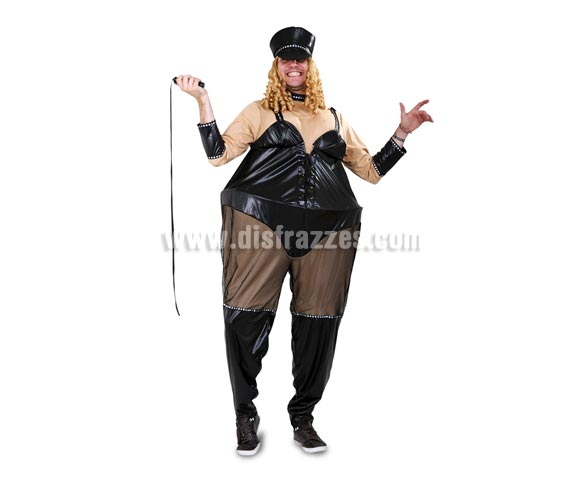 Disfraz de Sadomasoquista Pechugona adulto. Talla Standar M-L 52/54. Incluye traje, gorra y látigo. Peluca NO incluida, podrás verla en la sección Pelucas.