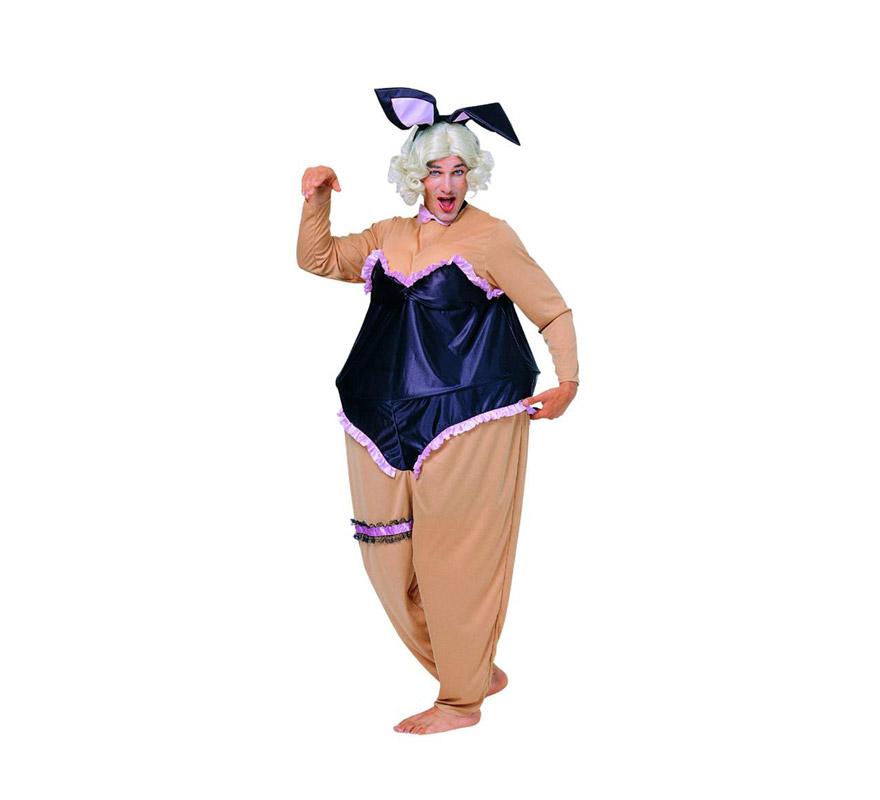 Disfraz de Conejita Pechugona adulto. Talla standar M-L = 52/54. Incluye traje y diadema con orejitas. Peluca NO incluida, podrás verla en la sección Pelucas. Disfraz de Conejita Sexy Pechugona para hombre ideal para Despedidas de Soltero.