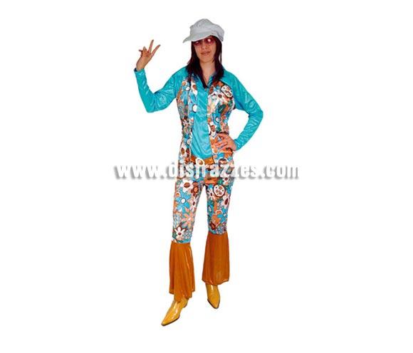 Disfraz de Hippie Adulta Económico. Talla Standar M-L = 38/42. Incluye camisa con chaleco, pantalón y gorra. Gafas NO incluidas, podrás verla en la sección Complementos.