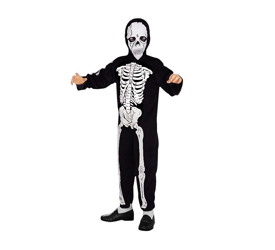 Disfraz de Esqueleto económico para niños de 10 a 12 años. Incluye mono y máscara.