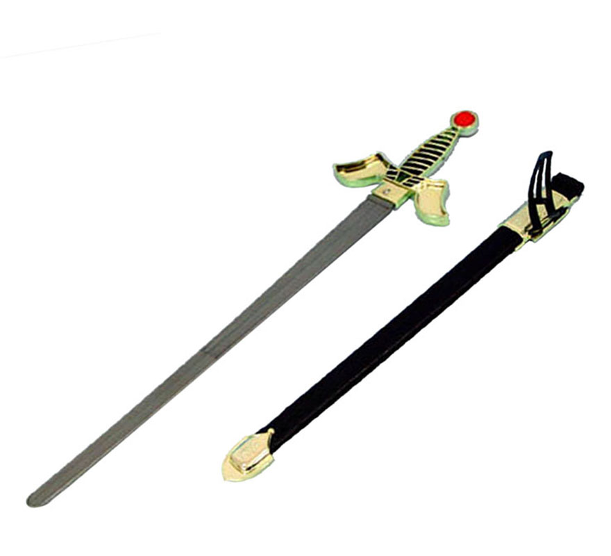 Espada de Rey Medieval con funda de 71x15 cm.
