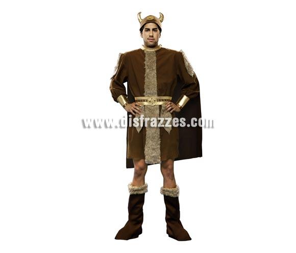 Disfraz de Vikingo adulto. Talla standar M-L = 52/54. Incluye gorro, traje, capa, cinturón y botas de tela. Éste traje de Bárbaro de hombre es un clásico pero no pasa de moda.
