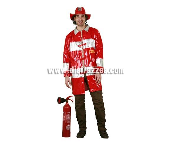 Disfraz de Bombero adulto. Talla standar M-L = 52/54. Incluye chaqueta y sombrero. Extintor NO incluido, lo podrás ver en la sección de complementos.