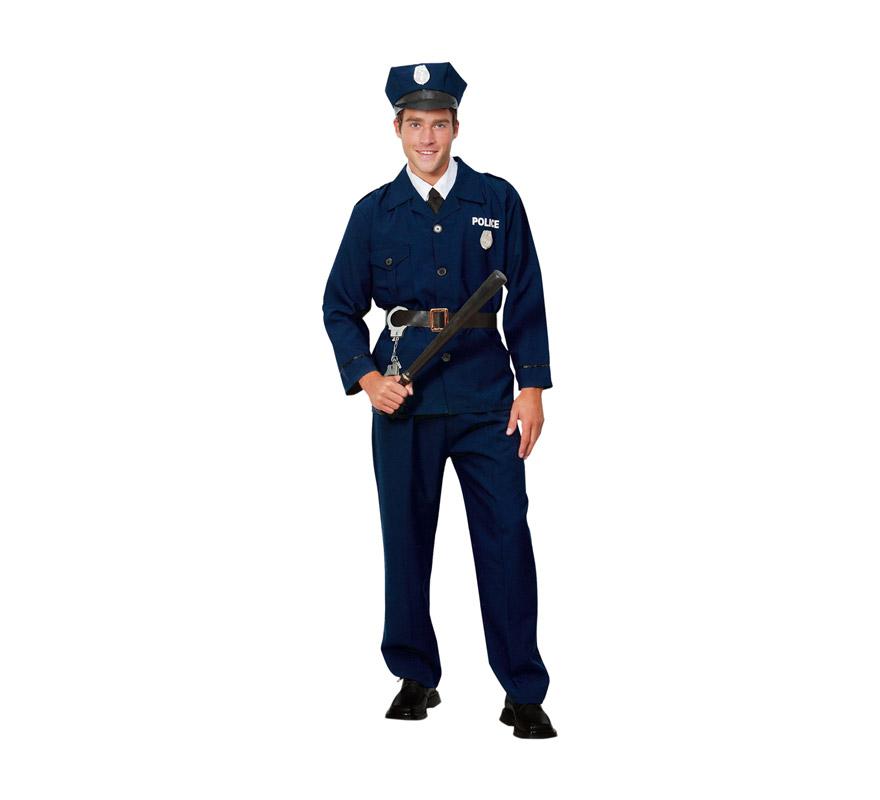 Disfraz de Policía para hombre adulto. Talla Standar M-L = 52/54. Incluye chaqueta, pantalón, cinturón y gorra. Porra y esposas NO incluidos, podrás verlo en la sección de Complementos.