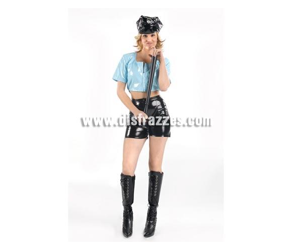 Disfraz de mujer Policía sexy adulta. Talla Standar M-L = 38/42. Incluye gorra, top, pantalón y cubrebotas. Porra NO incluida, podrás verla en la sección Complementos.