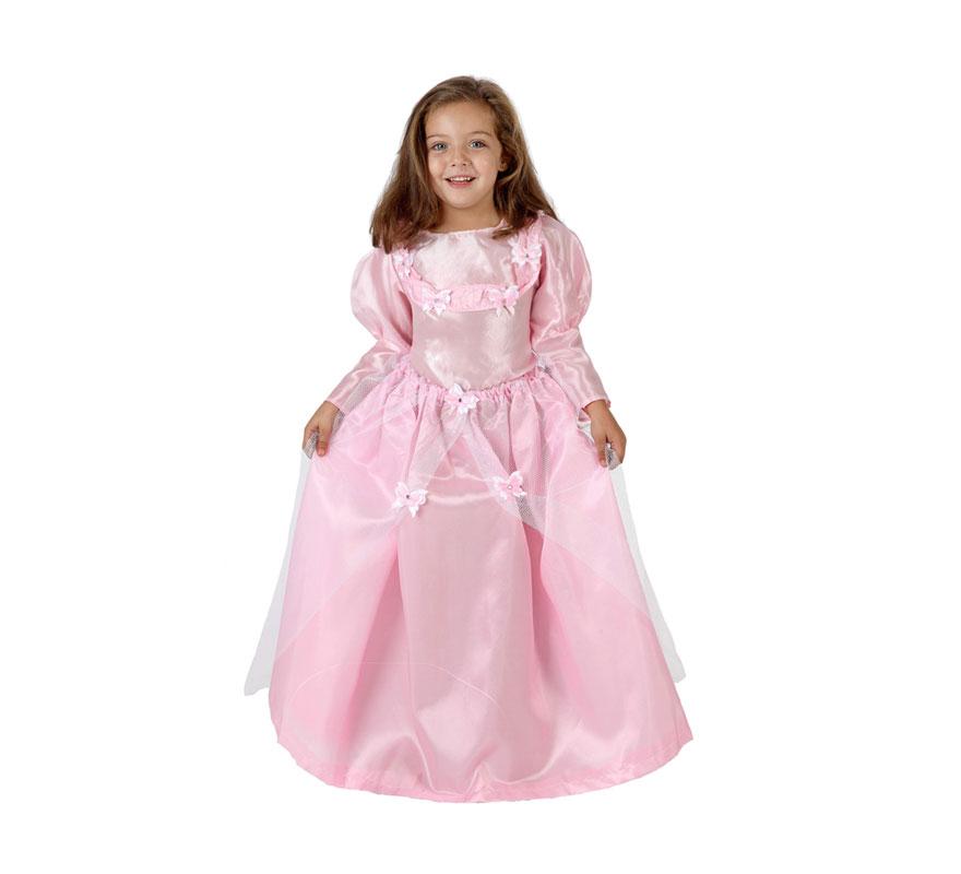 Disfraz barato de Princesa Rosa para niñas de 7 a 9 años. Incluye vestido. Éste traje es perfecto para Carnaval y como regalo en Navidad.
