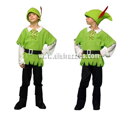Disfraz de Robin Hood infantil. Talla de 5 a 6 años. Incluye casaca-camisa, pantalón, cubrebotas, cinturón y gorro.