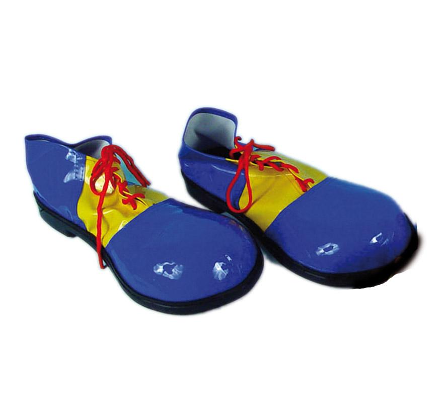 Par de Zapatos o Zapatones de Payaso para mujer de 30 cms. azules y amarillos.