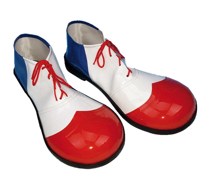 Par de Zapatos o Zapatones de Payaso para hombre de 37 cms. blancos y rojas.