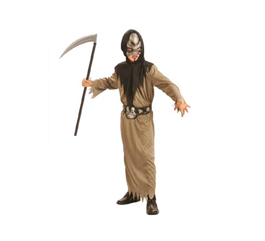 Disfraz de Guerrero Calavera barato para Halloween. Talla de 7 a 9 años. Incluye traje, cinturón y máscara con capucha. Guadaña NO incluida, podrás verla en la sección Complementos.