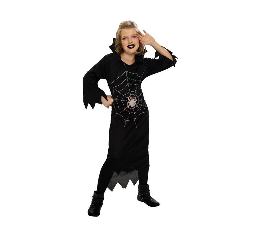 Disfraz de Niña Araña barato para Halloween. Talla de 7 a 9 años. Incluye vestido con cuello y cinturón.