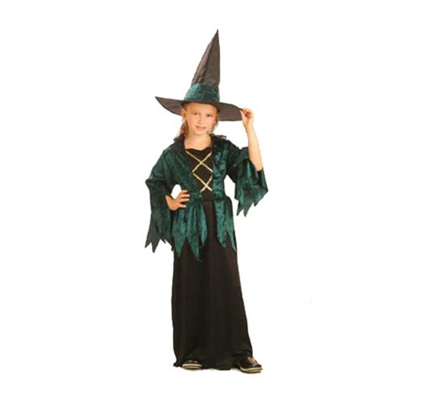 Disfraz de Bruja Hechicera Gótica económico talla de 7 a 9 años. Incluye vestido y sombrero.