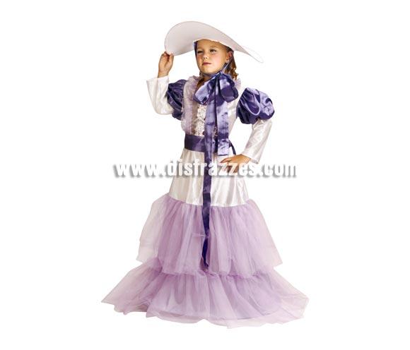 Disfraz de Escarlata para niñas de 5 a 6 años. Incluye vestido, cinturón y sombrero. Con éste disfraz las niñas se sienten unas auténticas Damas del Oeste.