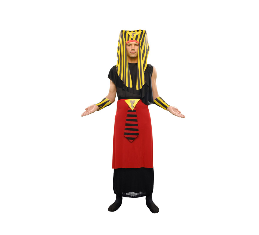 Disfraz de Egipcio adulto. Disfraz de Faraón, Tutankamon. Talla standar M-L = 52/54. Incluye túnica ,cinturón,pieza para la cabeza y muñequeras.