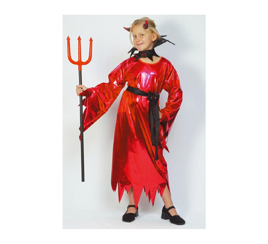 Disfraz de Demonio o Diablesa Niña económico talla de 10 a 12 años. Incluye vestido, cinturón y collarín. Tridente NO incluido, podrás verlo en la sección de Complementos.