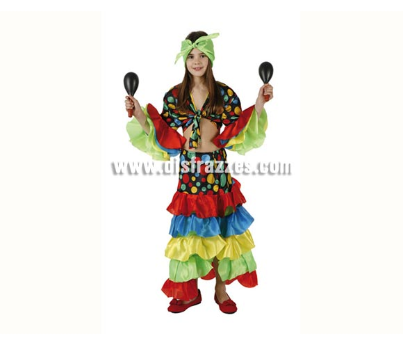 Disfraz de Rumbera infantil. Talla de 7 a 9 años. Incluye pañuelo, camisa y falda. Disfraz de Caribeña o Brasileña para niña.
