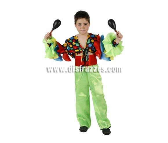 Disfraz de Rumbero infantil. Talla de 7 a 9 años. Incluye camisa, pantalón y fajin. Disfraz de Caribeño o Brasileño para niño.