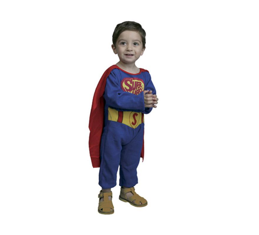 Disfraz de Super Bebé. Talla de 6 a 12 meses. Incluye monito con capa. Disfraz super barato con el que tu bebé parecerá el hijo de Superman.