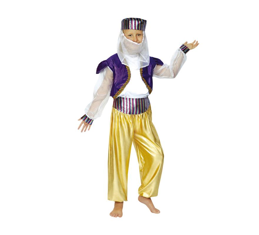 Disfraz de Bailarina Árabe o de Paje Real para Carnaval o para Navidad. Talla de 10 a 12 años. Incluye camisa, pantalón y gorro.