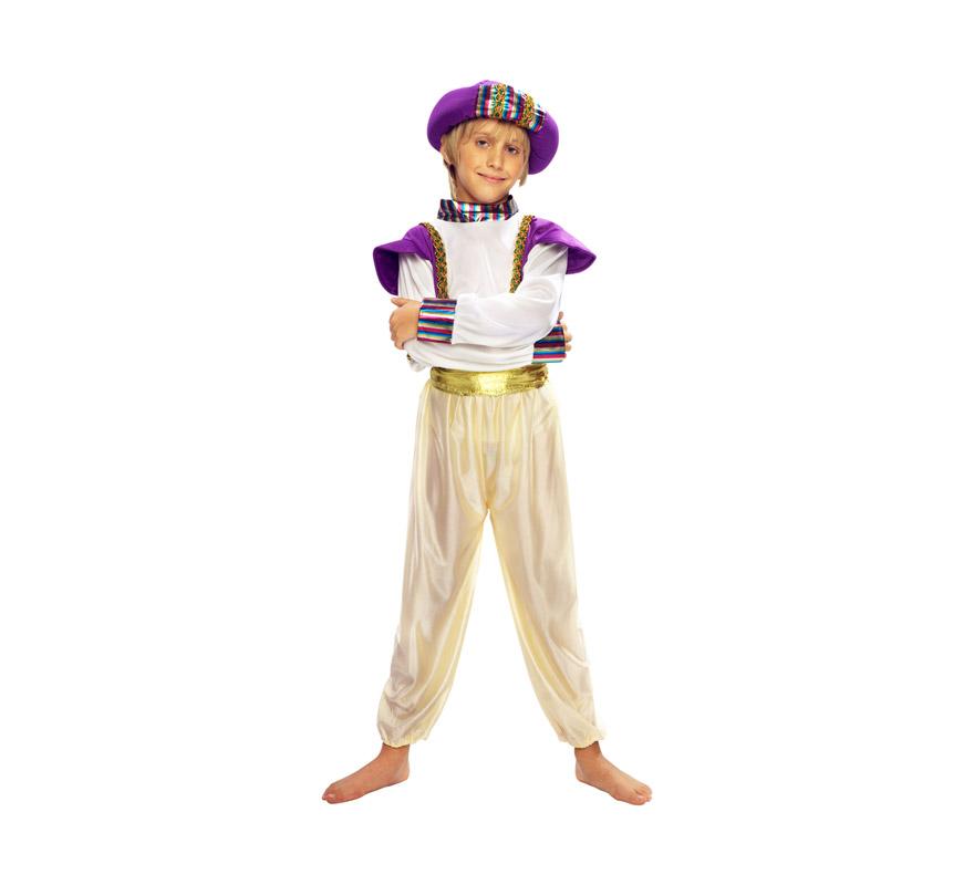 Disfraz de Principe Árabe o Paje Real infantil para Carnaval y para Navidad barato. Talla de 7 a 9 años. Incluye camisa con chaleco, turbante, cinturón y pantalón.
