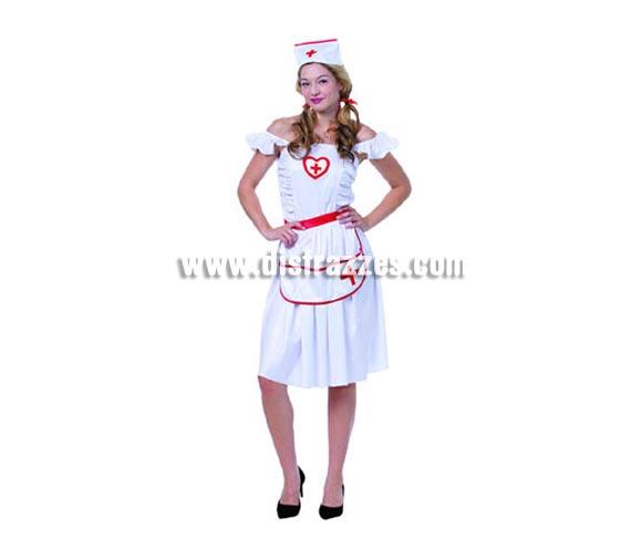 Disfraz de Enfermera adulta. Talla Standar M-L = 38/42. Incluye vestido, delantal y cofia.