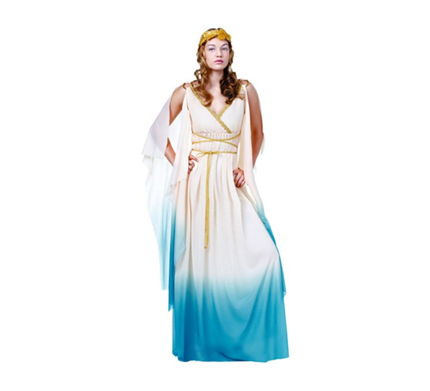 Disfraz de Diosa Griega adulta. Talla Standar M-L = 38/42. Incluye vestido, mangas y corona de laurel de tela. Éste traje de Romana es muy pero que muy bonito y es uno de los más vendidos por su diseño.