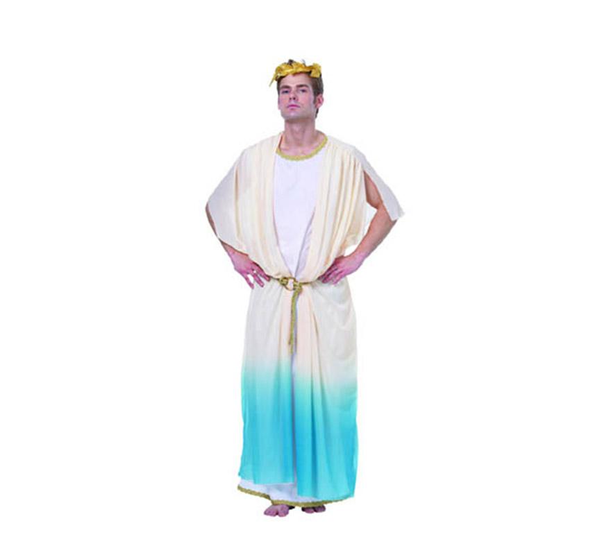 Disfraz de Dios Griego adulto. Talla standar M-L = 52/54. Incluye túnica, cinturón y corona de laurel de tela.