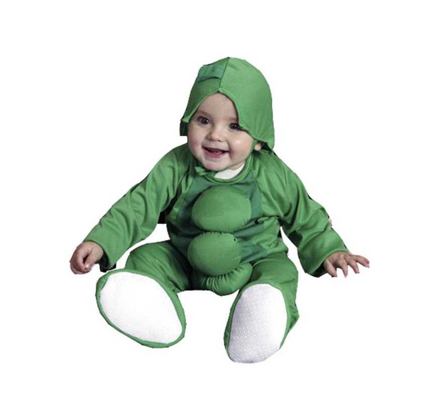 Disfraz super barato de Guisante para bebés de 6 a 12 meses. Incluye mono y gorrito.