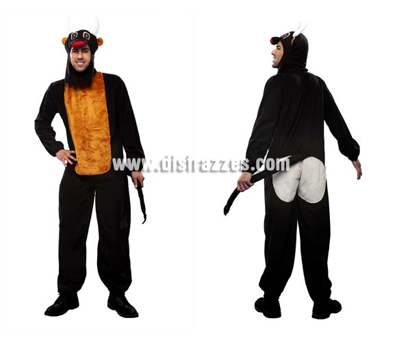 Disfraz de Toro adulto barato. Talla Standar M-L 52/54. Incluye mono con rabo y caperuza. Perfecto como acompañante del disfraz de Torero. Un disfraz calentito para los días de frio.