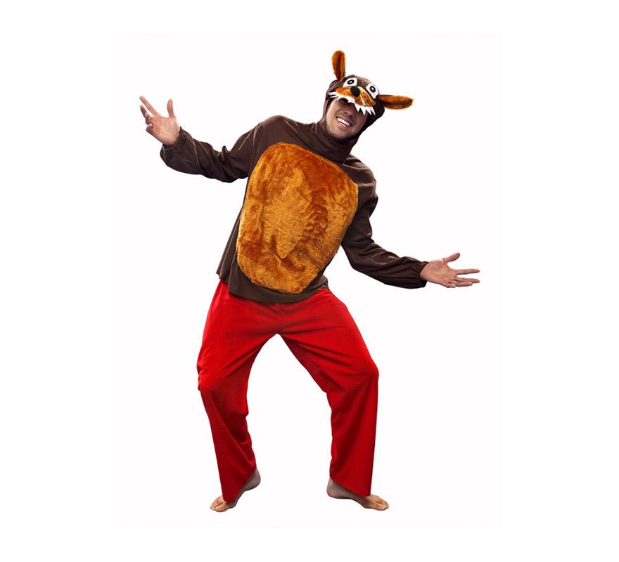 Disfraz de Lobo para hombre. Talla Standar M-L 52/54. Incluye blusón, pantalón y capucha con forma de lobo. Para comerse a Caperucita de un bocado.