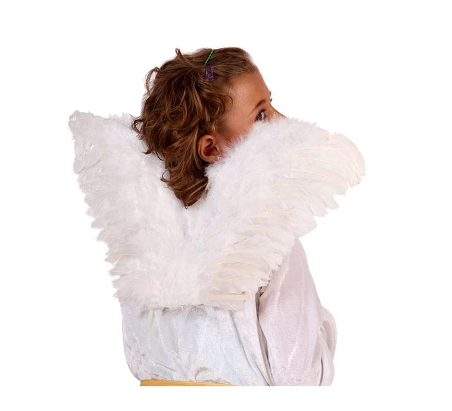 Alas de ángel plumas blancas de 55x26 cm.