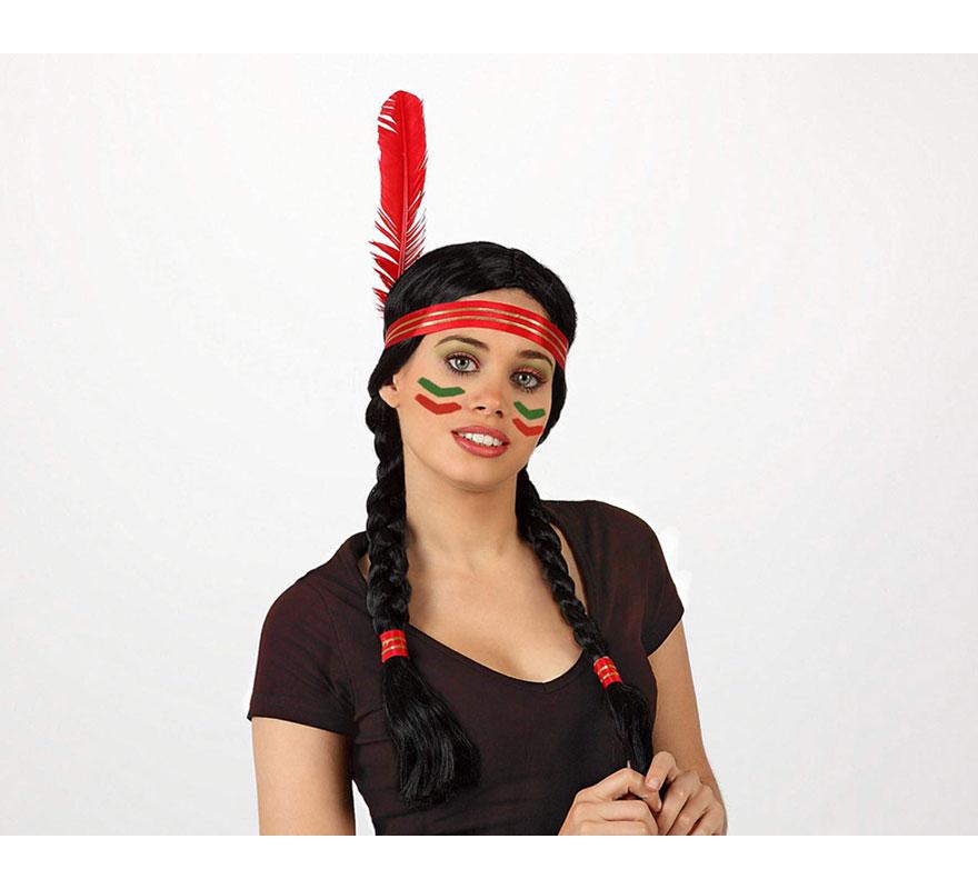Peluca de India con 2 coletas para mujer. Incluye cinta y pluma.