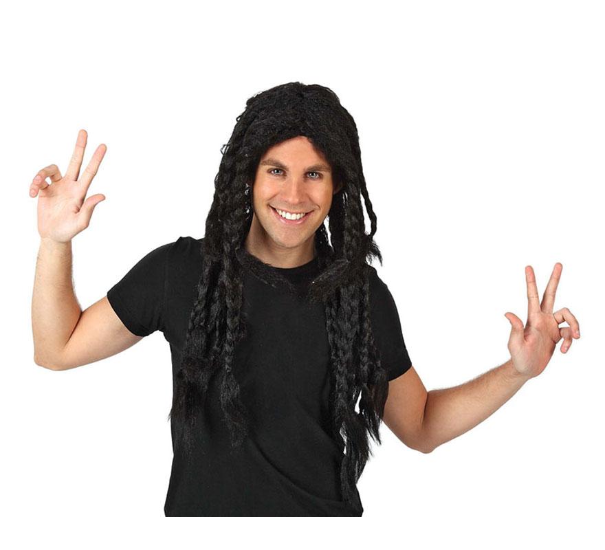 Peluca larga de Jamaicano con trenzas. También vale para Hippie y para disfrazarse de Bob Marley.