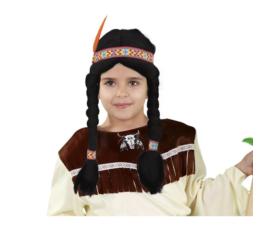 Peluca India infantil con trenzas y pluma para Carnaval. Talla universal de niños.