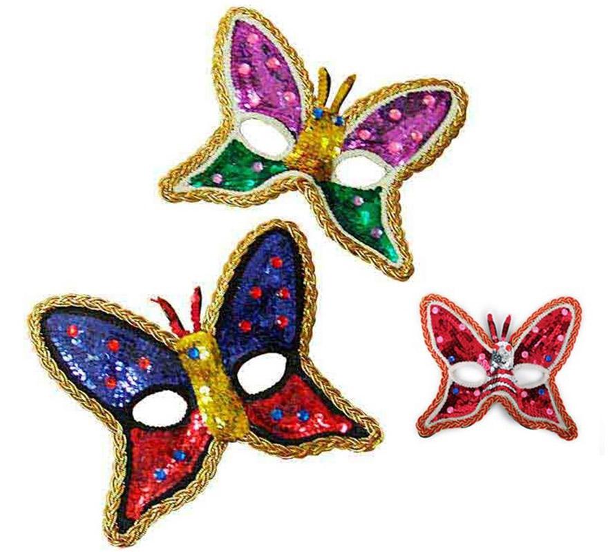 Antifaz Mariposa con lentejuelas 3 colores surtidos. Precio por unidad, se venden por separado.