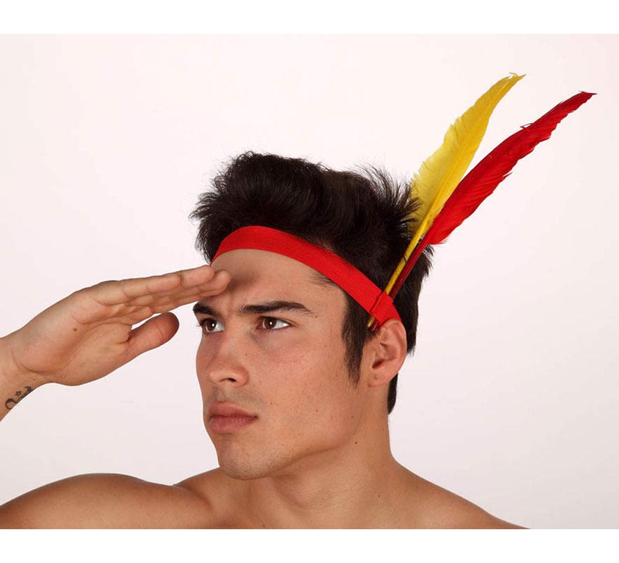 Cinta de Indio o de India para cabeza con plumas.