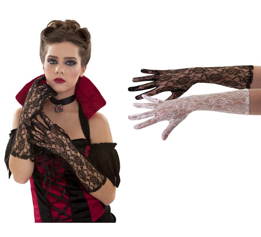 Par de Guantes de encaje para mujer. Disponible en color blanco y negro, precio por par, se venden por separado. Perfectos para los disfraces de Charlestón, Cabaret y Can can, también para los disfraces de Vampiresas.