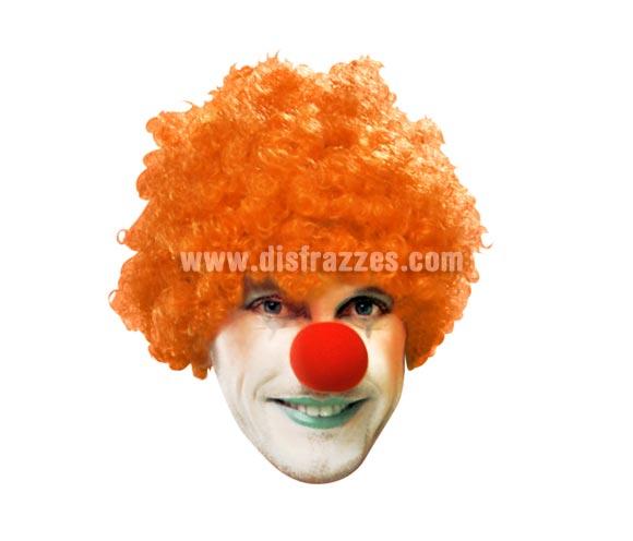 Peluca Payaso rizada naranja para Carnaval. Talla universal adultos.