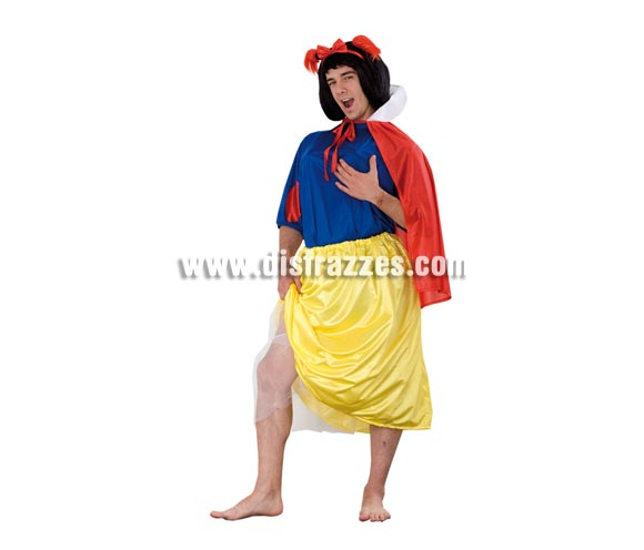 Disfraz de Blancanieves hombre adulto. Talla Standar M-L 52/54. Incluye falda, camisa, capa y lazo. Peluca NO incluida, podrás verla en la sección Pelucas. Un disfraz muy cachondo para Despedidas de Soltero.